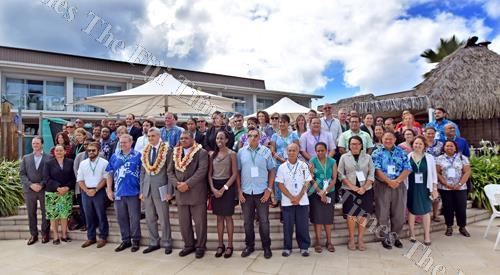 Bakhodir Burkhanov, UNDP country director and head of Pacific regional policy and program (5th from left, front) with participants of the Third Regional Pacific Dialogue on Nationally Determined Contributions (NDCs) and consultations on the regional Pacif