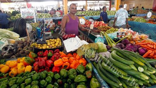 Bobby Chand at his fruit stall at the Suva Municipal Market yesterday. Picture: ATU RASEA