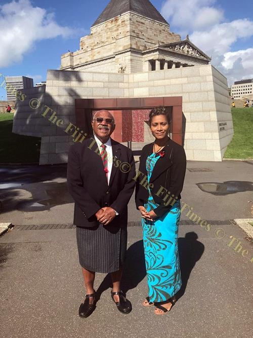 SODELPA leader Sitiveni Rabuka and provisional candidate Lynda Tabuya in Australia. Picture: Supplied