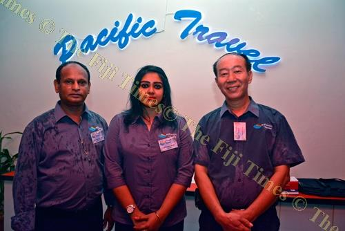 Pacific Travel director Jason Liu (right) with manager Dileshni Ram and general manager Kishore Kumar after opening of the travel agency in Nadi. Picture: BALJEET SINGH