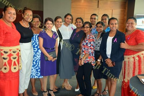 Fijian Competition and Consumer Commission (FCCC) staff members during the Women in Business (WIB) International Women's Day breakfast at the Grand Pacific Hotel in Suva last Thursday. Picture: FILIPE NAIGULEVU