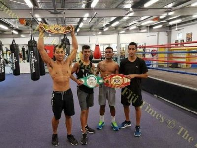 Boxers Winston Hill, Nathan Singh, Jone Davule and Christopher Zoing after the Tri-Nations Series in Papua New Guinea last weekend. Picture: SUPPLIED.
