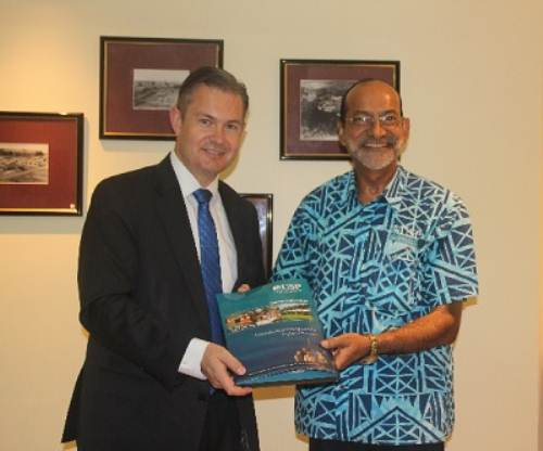 New Zealand's High Commissioner to Fiji Jonathan Curr and USP vice-chancellor Professor Rajesh Chandra following the visit and discussions at the Laucala Campus in Suva. Picture: SUPPLIED