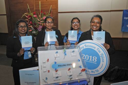 FEO staff (from left) Neelam Mani, Sheenal Singh, Shivika Mala and Natasha Verma at the 2018 General Elections 'Know Your Election' awareness drive launch in Suva today. Picture: JONA KONATACI