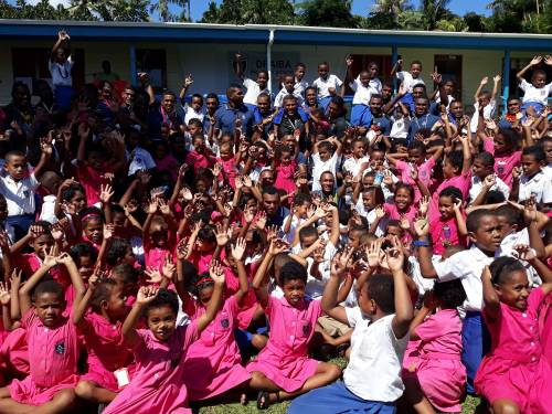 Students of Draiba Primary School with the Fiji Warrior side in Nasese today. Picture: ALISI VUCAGO