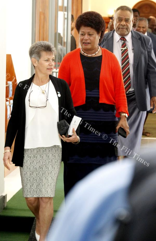 Assistant Minister for Environment, Lorna Eden and Opposition MP Salote Radrodro outside Parliament yesterday. Picture: JONA KONATACI