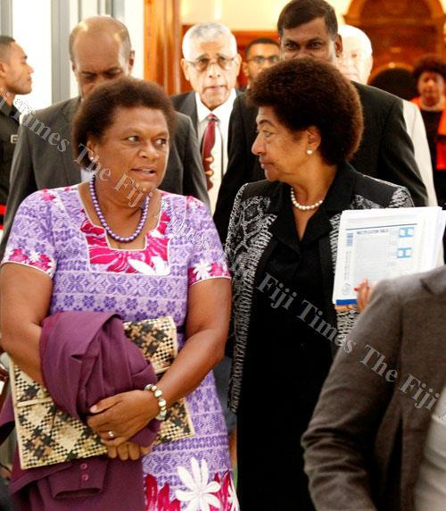 Mere Ratunabuabua (left) and Opposition Leader Ro Teimumu Kepa outside Parliament yesterday. Picture: JONA KONATACI