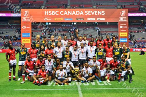 The Canada 7s cup winners Fiji with second placed Kenya and third placed South Africa after the finals. Pictue: JOVESA NAISUA