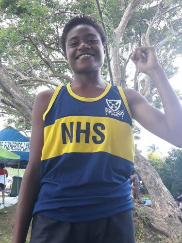 Sanita Vurilagi of Nakasi High School getting ready for the 100m finals at the ANZ Stadium in Suva. Picture: ALISI VUCAGO
