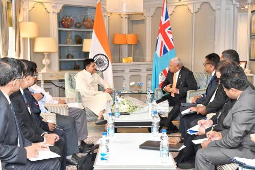 Fiji's Prime Minister Voreqe Bainimarama meets Indian Minister for Railways and Coal Piyush Vedprakash Goyal. Picture: SUPPLIED
