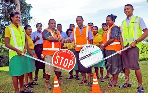 Students in Savusavu with their new road safety equipment. Picture SUPPLIED