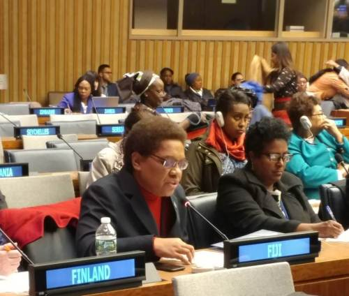 Fiji's Minister for Women Mereseini Vuniwaqa delivers her address at the 62nd Commission on the Status of Women (CSW) in New York this week. Picture: SUPPLIED