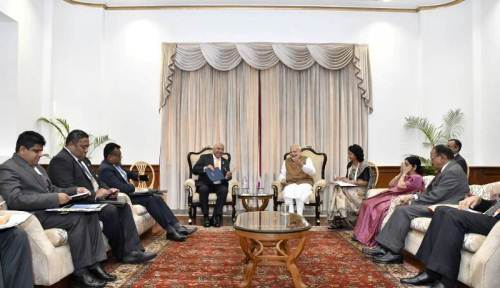 Prime Minister Voreqe Bainimarama meets with India's Prime Minister Narendra Modi duirng bilateral meeting in New Delhi India. Picture: SUPPLIED