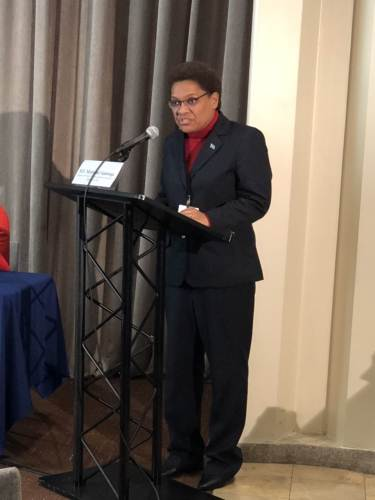 Minister for Women, Children and Poverty Alleviation, Mereseini Vuniwaqa while delivering her opening remarks in New York. Picture: SUPPLIED