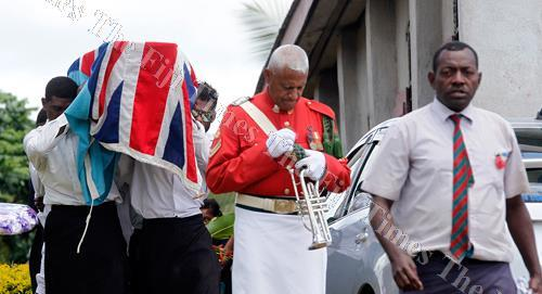 The casket of Fiji Naval Volunteer Reserve Force officer Samisoni Tamanikalou after the church service at Naivicula Village in Wainibuka, Tailevu yesterday. Picture ATU RASEA