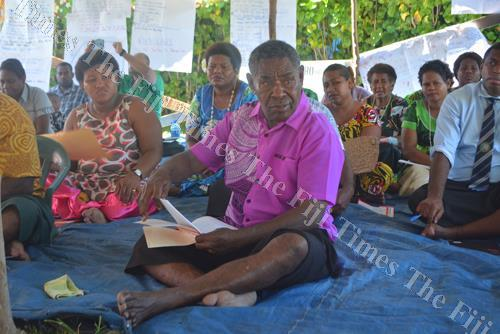 Aminiasi Tuimaba joins fellow villagers at the village integrated management planning workshop at Vio Village in Lautoka. Picture: REINAL CHAND
