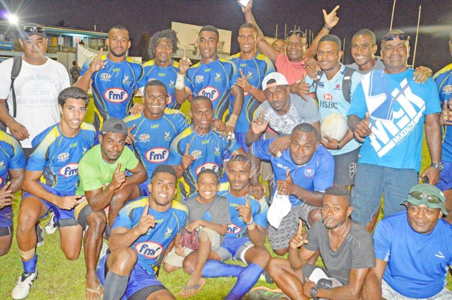 Members of the Nailega Blues team in Nausori after their Uluinakau 7s win