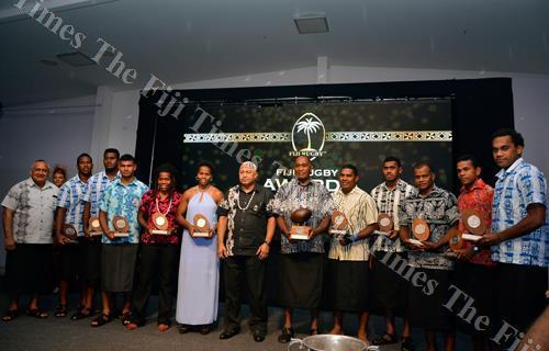 Winners pose with Prime Minister Voreqe Bainimarama at the FRU awards night at Sheraton Fiji Resort & Spa, Denarau in Nadi on Friday night. Picture: BALJEET SINGH