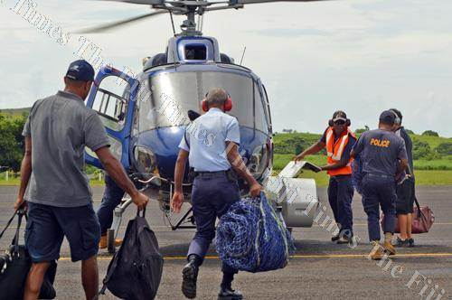 Soldiers and police prepare for the rescue mission of the missing Cessna 172 aircraft at Delaikoro, Cakaudrove. Picture: FT FILE