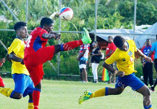 Action from the Vodafone Senior League match between Lami and Navua at the Fiji Football Academy ground in Vatuwaqa yesterday. Picture: ATU RASEA