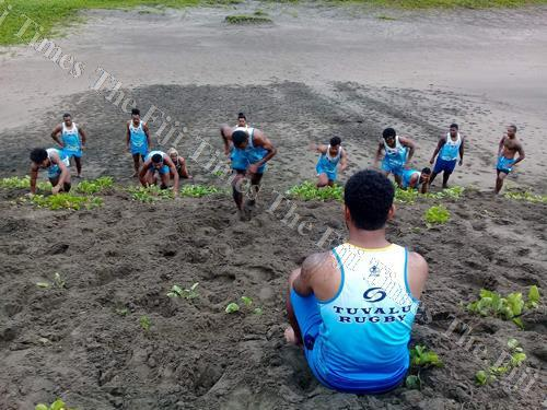 Members of the Tuvalu national 7s team during a training session at the Sand Dunes in Sigatoka. Picture: SUPPLIED