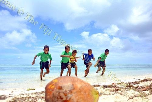 Children of Muana-i-Cake from left, Setareki Matai, 9, Jiuta Kacilala, 8, Mavoa Sei, 7, Josefa Saunilotu, 11, and Benjamin Joshua, 13, enjoy themselves at the beach in Fulaga, Ono-i-Lau. Picture: JONACANI LALAKOBAU