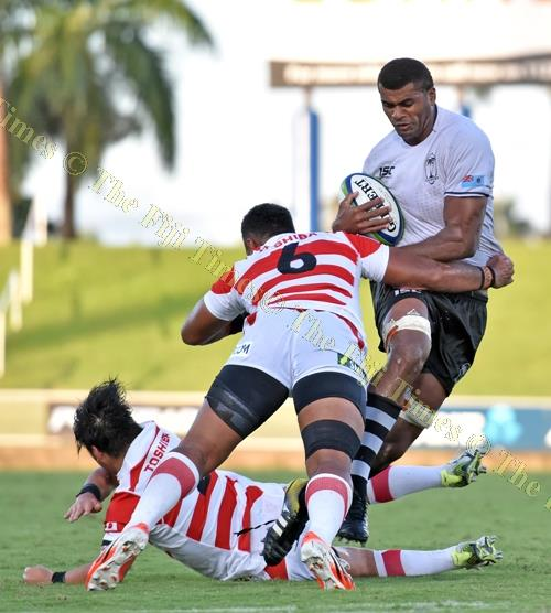 Tevita Ratuva of Fiji Warriors attacks against Junior Japan during the 2018 World Rugby Pacific Challenge which ended last Saturdayat ANZ Stadium. The author says PALM summits held every three years in Japan between Japan's PM and the leaders of 14 Pacifi