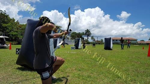 A participant takes part in a shooting competition in Suva. Picture: FT FILE