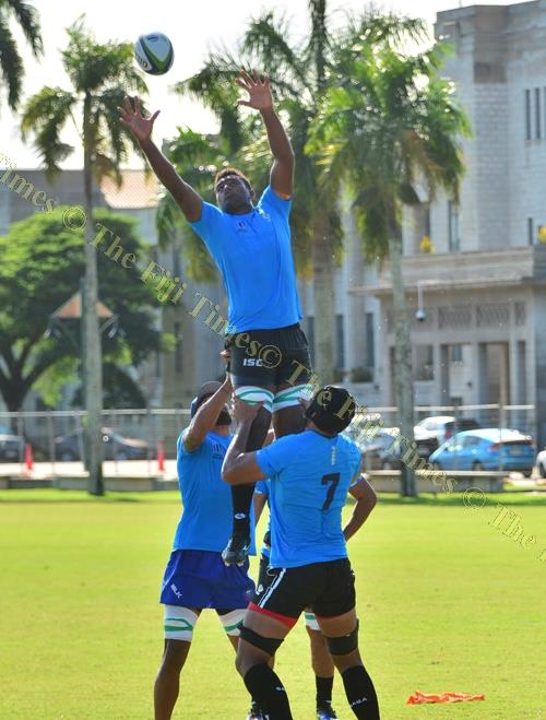My ball ... Temo Mayanavanua wins this line-out during the World Rugby Pacific Islands combined team training session in Suva yesterday. Picture: JOVESA NAISUA