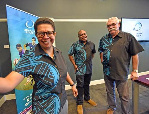 First Fijian Woman Director,Oceania Rugby Cathy Wong (left),President Oceania Rugby Richard Sapias (middle) and General Manager Oceania Rugby Bruce Cook after the announcement of Cathy Wong in World Rugby Council at GPH this afternoon. Picture: RAMA