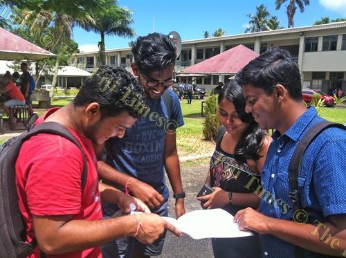 Fiji National University (FNU) students Shivnel Lal, Siddharth Raman, Bhawisha Chand and Pritesh Lal after the 2018/2019 Budget consultation in Samabula yesterday. Picture: JONA KONATACI