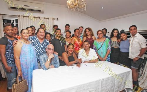 Fashion designers pose for a group photo after the signing. Picture: JONA KONATACI