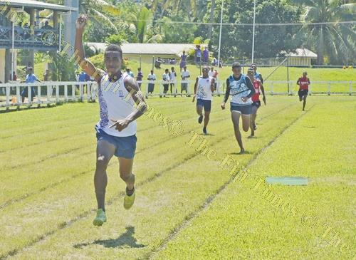 Sigatoka Methodist College athlete Gordon Frank Ravuama wins the senior boys 1500m final at the Nadroga-Navosa Athletics Zone. Picture: REINAL CHAND