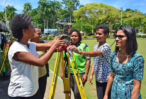 Vilimaina Batirerega, from left, Marawa Cabemaiwai, Salote Baleirara, Vasemaca Tamani and Christable Chand during the First Global Surveyors Day at the Suva Bowling Club yesterday. Picture: JONACANI LALAKOBAU