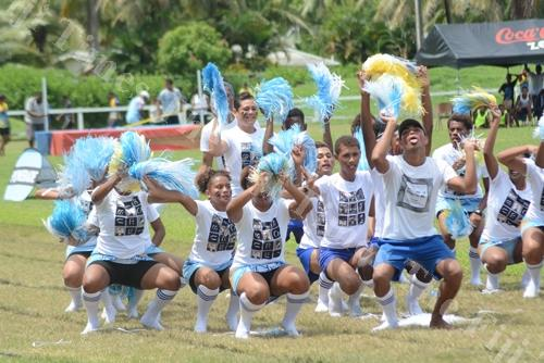 Cuvu College cheering team entertains the crowd. Picture: REINAL CHAND