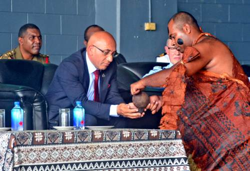 New Zealand's Minister of Defence Ron Mark was accorded a traditional welcoming ceremony during his arrival at the Nausori Airport this morning. Picture: JONACANI LALAKOBAU