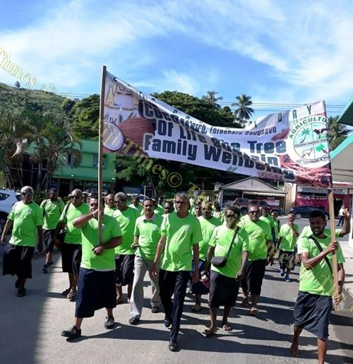 Assistant Minister for Agriculture Viam Pillay leads the march in Savusavu Town. Picture: SUPPLIED