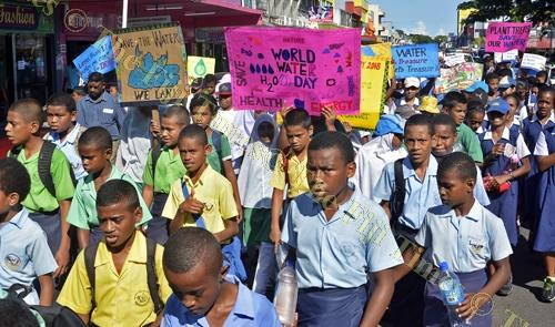School children march through Lautoka City to celebrate World Water Day yesterday. Picture: REINAL CHAND