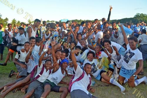 Cuvu College students celebrate the overall Boys title win. Picture: REINAL CHAND