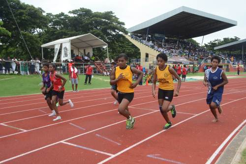 Nadi Sangam College's Veniana Qalo (3rd from right) competes in the Junior Girls 800m Final at the Nadi Zone Meet today. Picture: REINAL CHAND