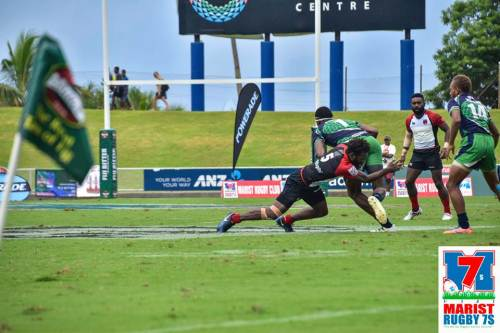 The PNG pukpuks in an earlier pool match. Picture: MARIST 7s