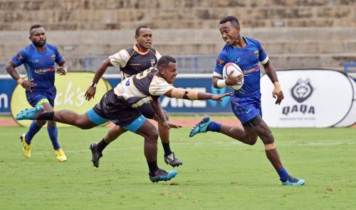 Luke Lutunavanua of Tabadamu Blues runs for the tryline against Portsmouth Kelland Brothers during the 42nd Fiji Bitter Marist Sevens at ANZ Stadium yesterday. Picture: RAMA