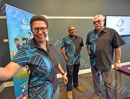 First Fijian woman director, Oceania Rugby Cathy Wong (left), president Oceania Rugby Richard Sapias (middle) and general manager Oceania Rugby Bruce Cook at the Grand Pacific Hotel in Suva. Picture: RAMA