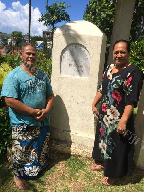 The Rev Si'u Vaifale and his wife in front of a memorial stone marking the 100-year-old celebration of the church's existence back in 1930. Picture: MATILDA SIMMONS