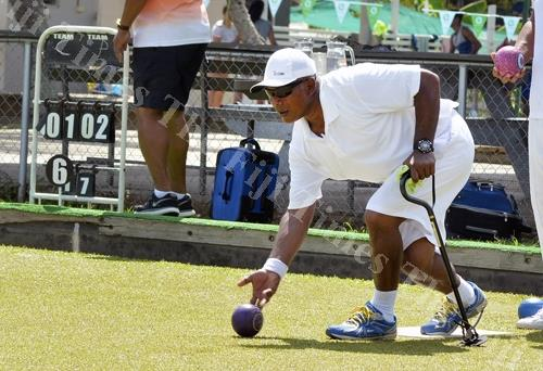 Semesa Naiseruvati in action at the Nadi Sports and Social Club greens yesterday. Picture: BALJEET SINGH