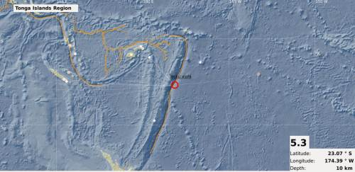 The map showing the epicentre of the 5.3 magnitude earthquake recorded in the Tonga region today. Picture: SUPPLIED