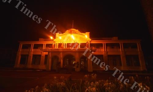 The Grand Pacific Hotel observing the Earthhour organized by WWF International on Saturday night. Picture: RAMA