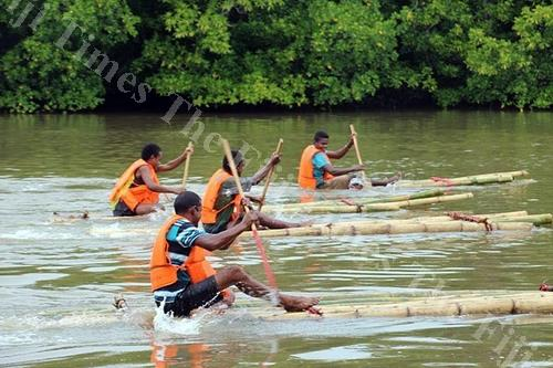 Youths of Nadogo during the Bilibili race at Wainikoro river, Macuata. Picture SUPPLIED.