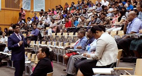 Attorney General and Economy Minister Aiyaz Sayed-Khaiyum speaking to students at the University of the South Pacific during the Budget consultation last week. Picture ATU RASEA