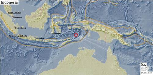 The map showing the epicentre of the 6.4 magnitude earthquake that occurred in the Indonesia region this morning. Picture: SUPPLIED